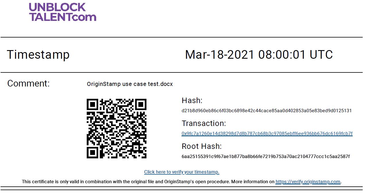 Originstamp certificate of Ethereum's timestamp of test document
